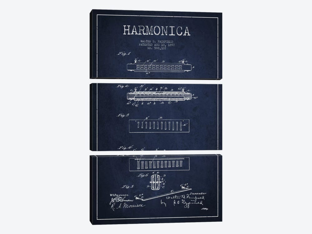 Harmonica Navy Blue Patent Blueprint by Aged Pixel 3-piece Canvas Art Print