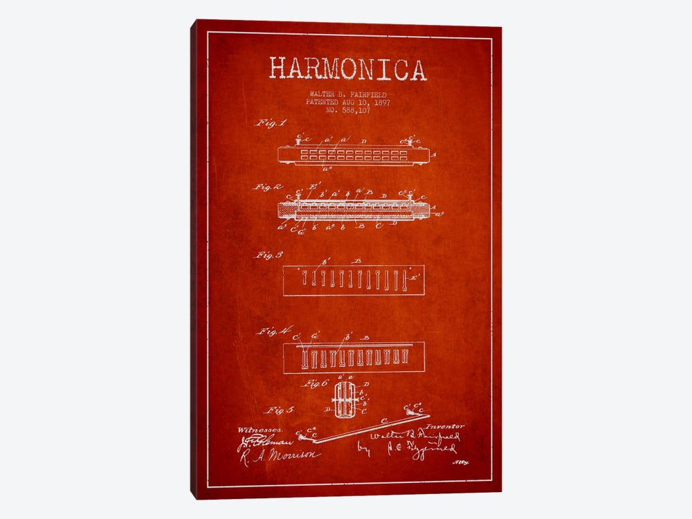 Harmonica Red Patent Blueprint by Aged Pixel 1-piece Canvas Wall Art