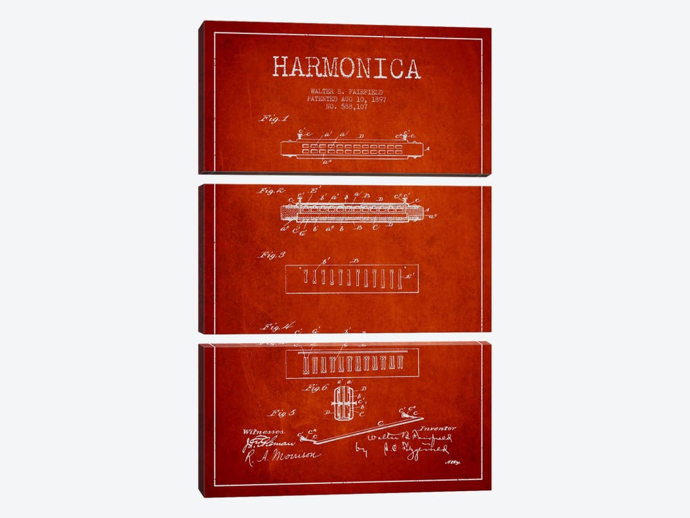 Harmonica Red Patent Blueprint by Aged Pixel 3-piece Canvas Wall Art