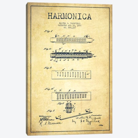Harmonica Vintage Patent Blueprint Canvas Print #ADP1023} by Aged Pixel Canvas Artwork