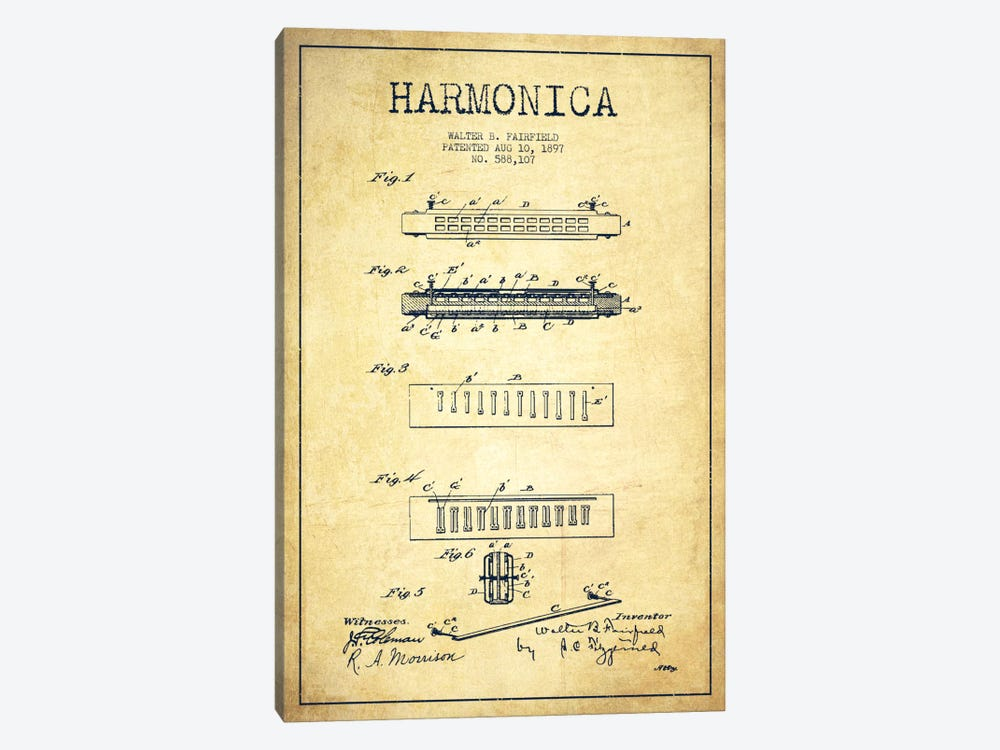 Harmonica Vintage Patent Blueprint 1-piece Canvas Print