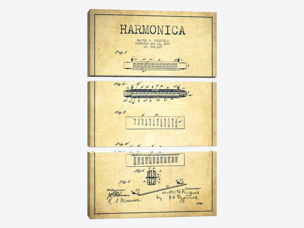 Harmonica Vintage Patent Blueprint 3-piece Canvas Art Print