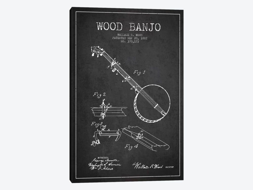 Wood Banjo Charcoal Patent Blueprint by Aged Pixel 1-piece Canvas Art