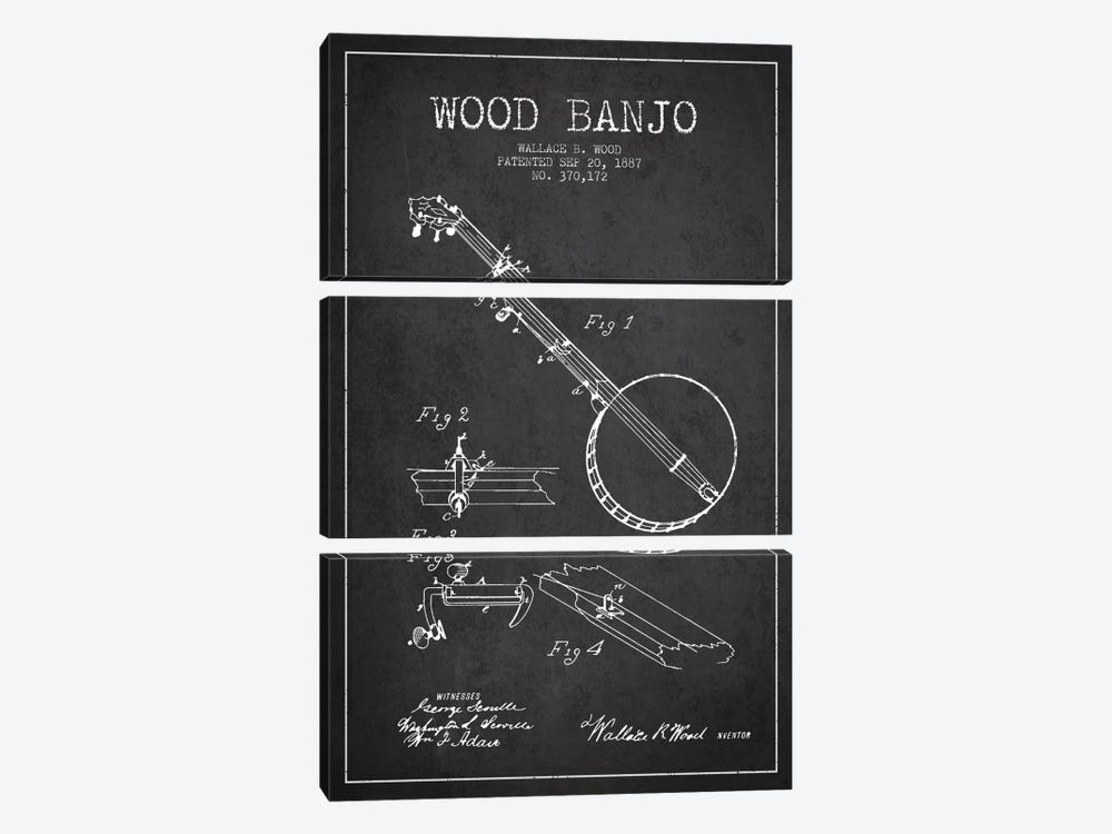 Wood Banjo Charcoal Patent Blueprint by Aged Pixel 3-piece Canvas Wall Art