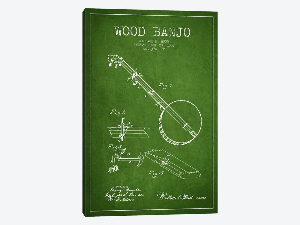 Wood Banjo Green Patent Blueprint by Aged Pixel 1-piece Canvas Print