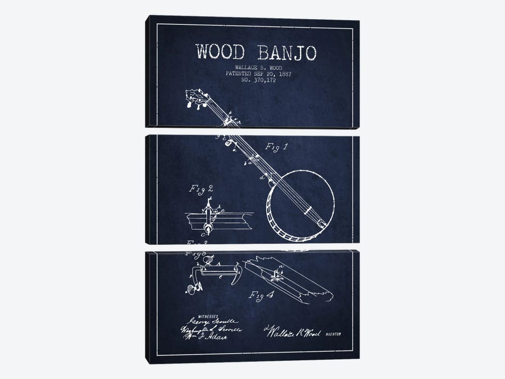 Wood Banjo Navy Blue Patent Blueprint by Aged Pixel 3-piece Canvas Artwork