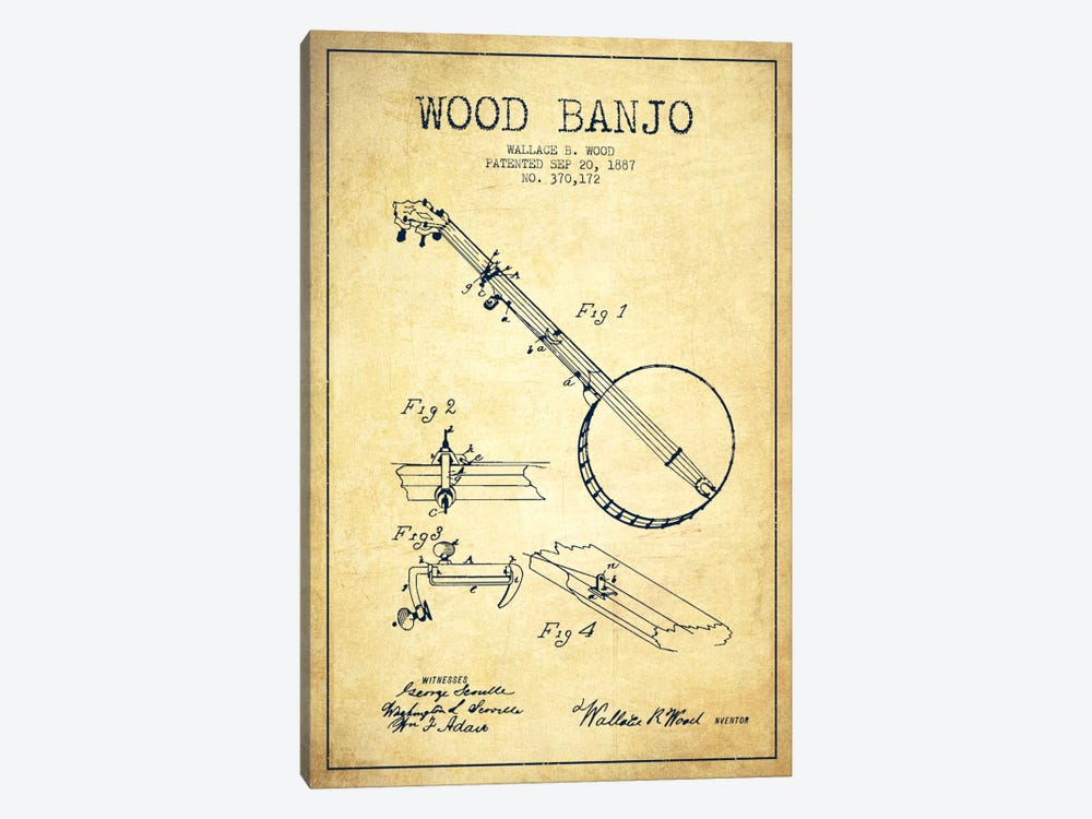 Wood Banjo Vintage Patent Blueprint by Aged Pixel 1-piece Canvas Artwork