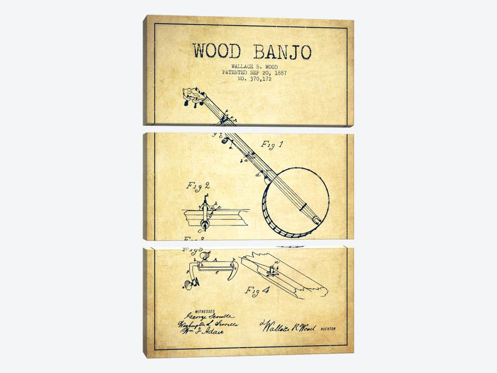 Wood Banjo Vintage Patent Blueprint by Aged Pixel 3-piece Canvas Art