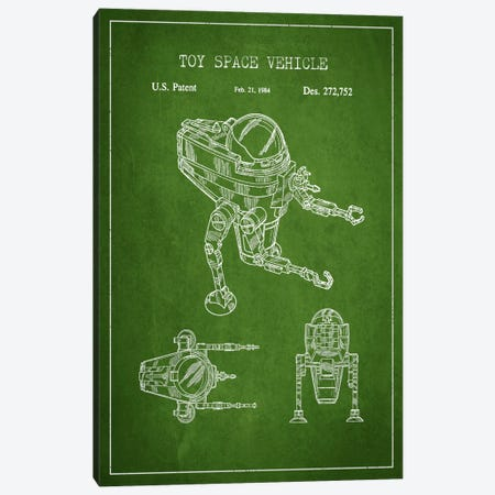 Toy Robot Green Patent Blueprint Canvas Print #ADP102} by Aged Pixel Canvas Art