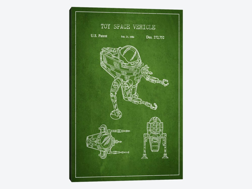 Toy Robot Green Patent Blueprint by Aged Pixel 1-piece Canvas Wall Art