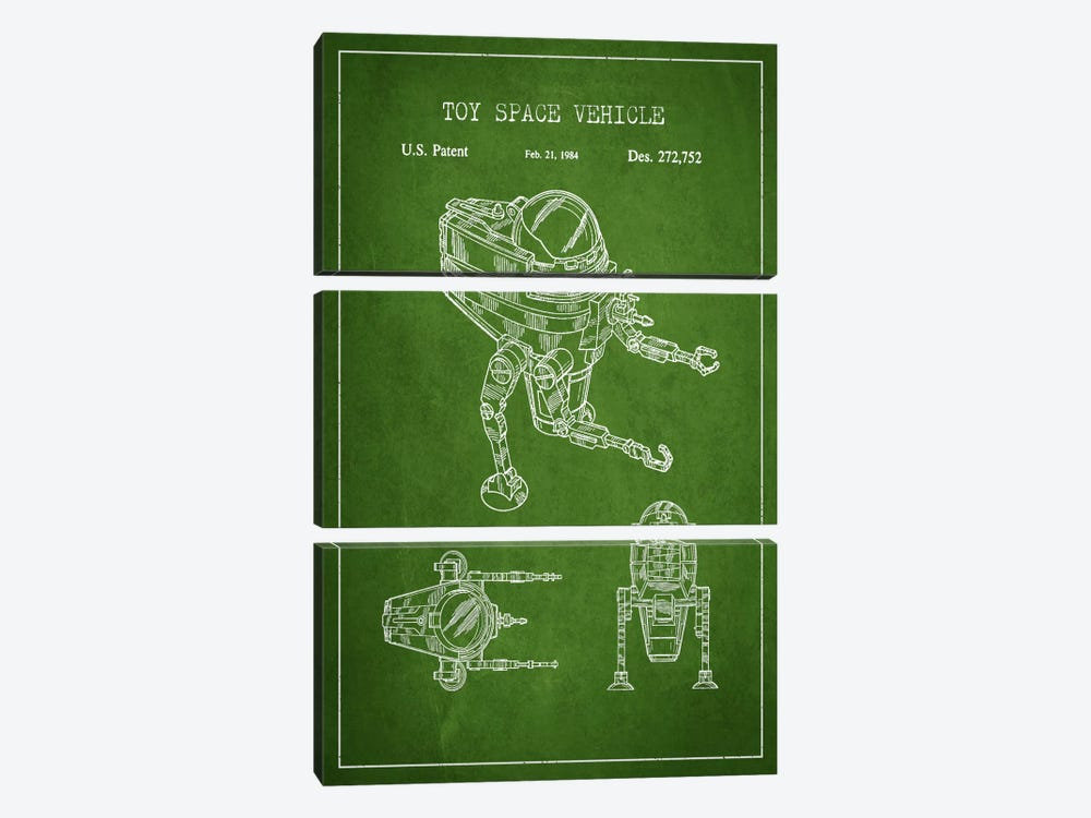Toy Robot Green Patent Blueprint by Aged Pixel 3-piece Canvas Artwork