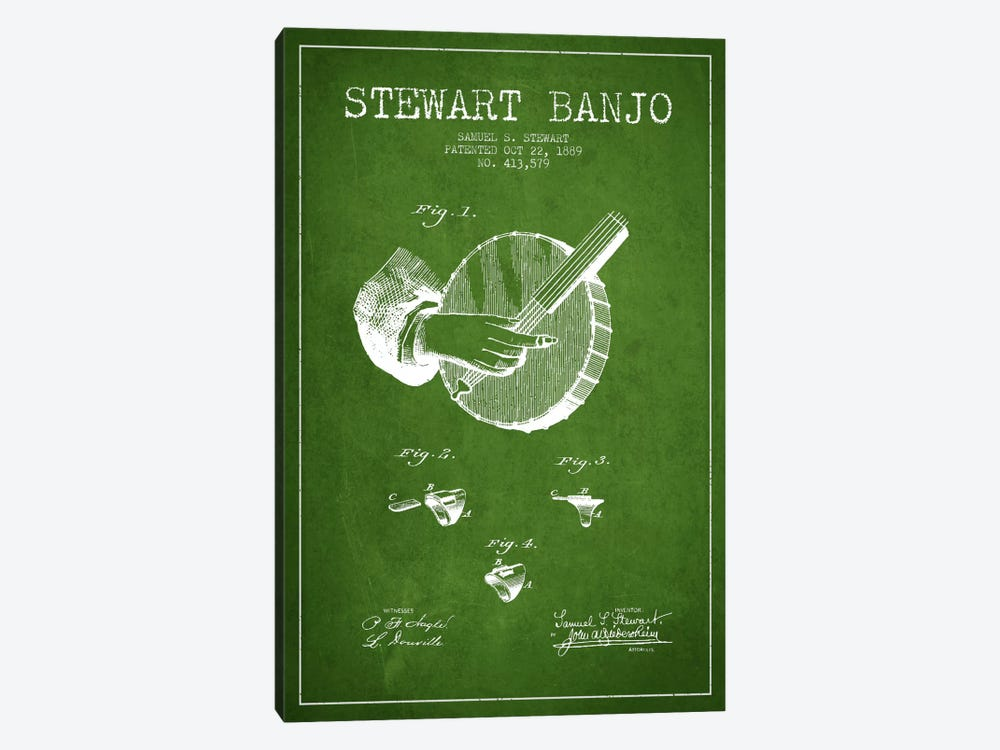 Stewart Banjo Green Patent Blueprint by Aged Pixel 1-piece Art Print