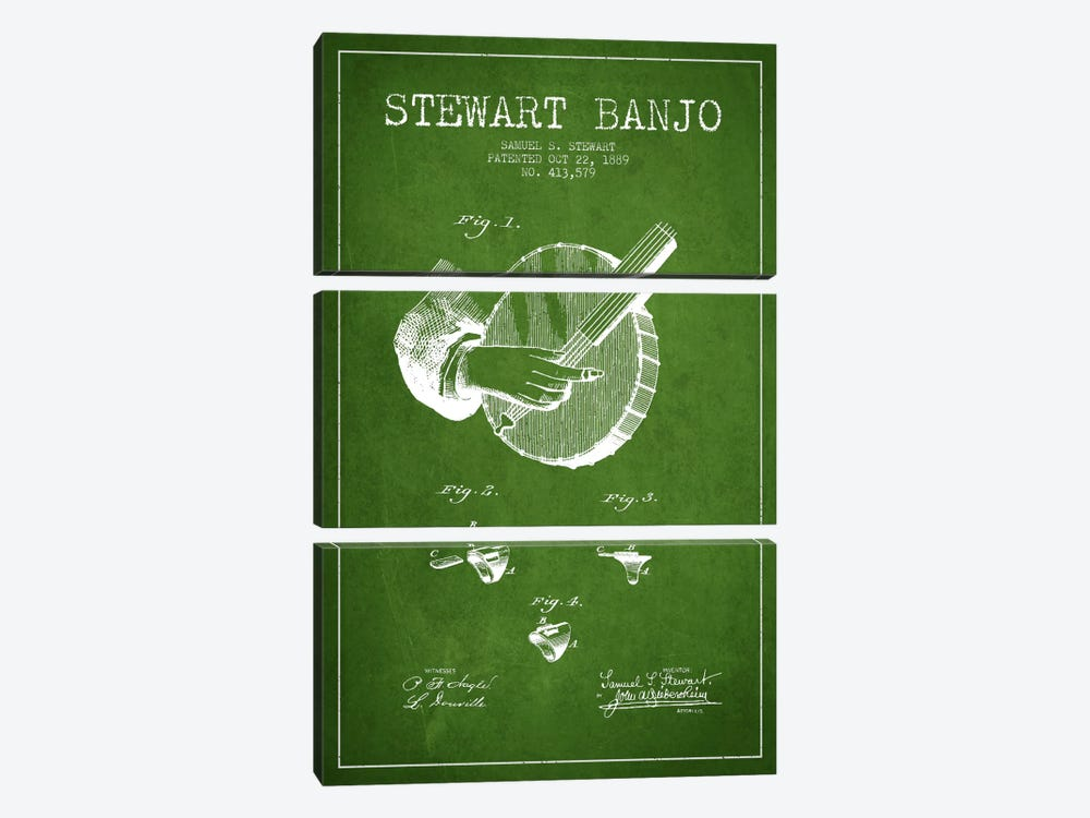 Stewart Banjo Green Patent Blueprint by Aged Pixel 3-piece Canvas Print