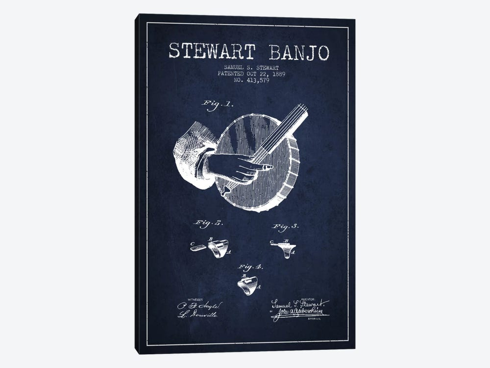 Stewart Banjo Navy Blue Patent Blueprint by Aged Pixel 1-piece Canvas Art