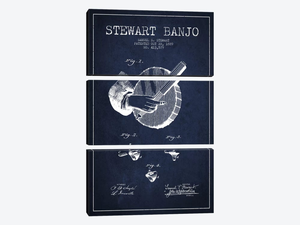 Stewart Banjo Navy Blue Patent Blueprint by Aged Pixel 3-piece Canvas Wall Art