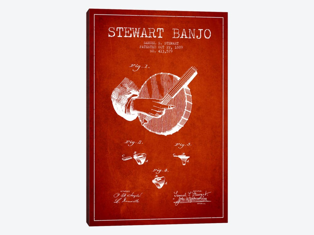 Stewart Banjo Red Patent Blueprint by Aged Pixel 1-piece Art Print