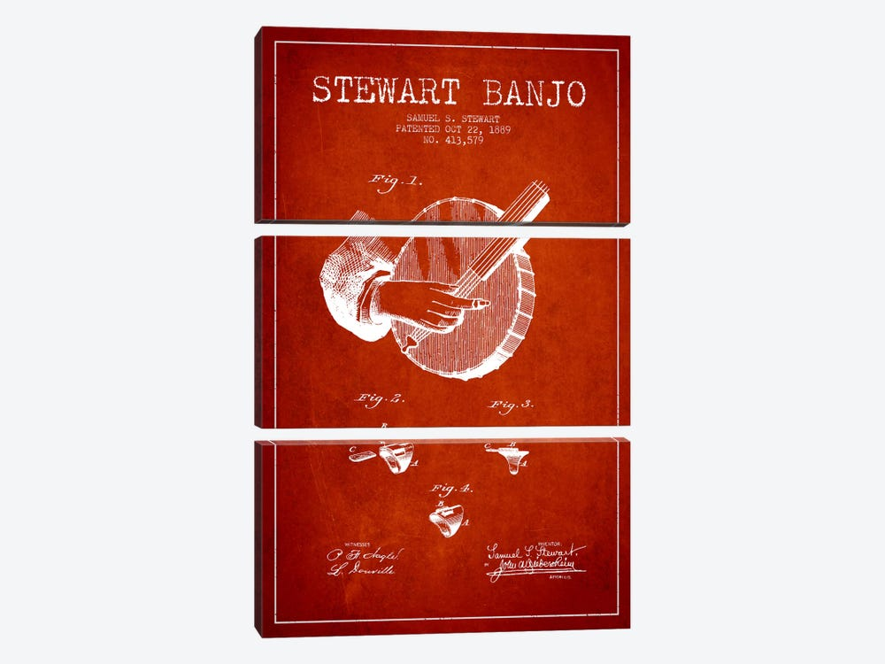 Stewart Banjo Red Patent Blueprint by Aged Pixel 3-piece Art Print