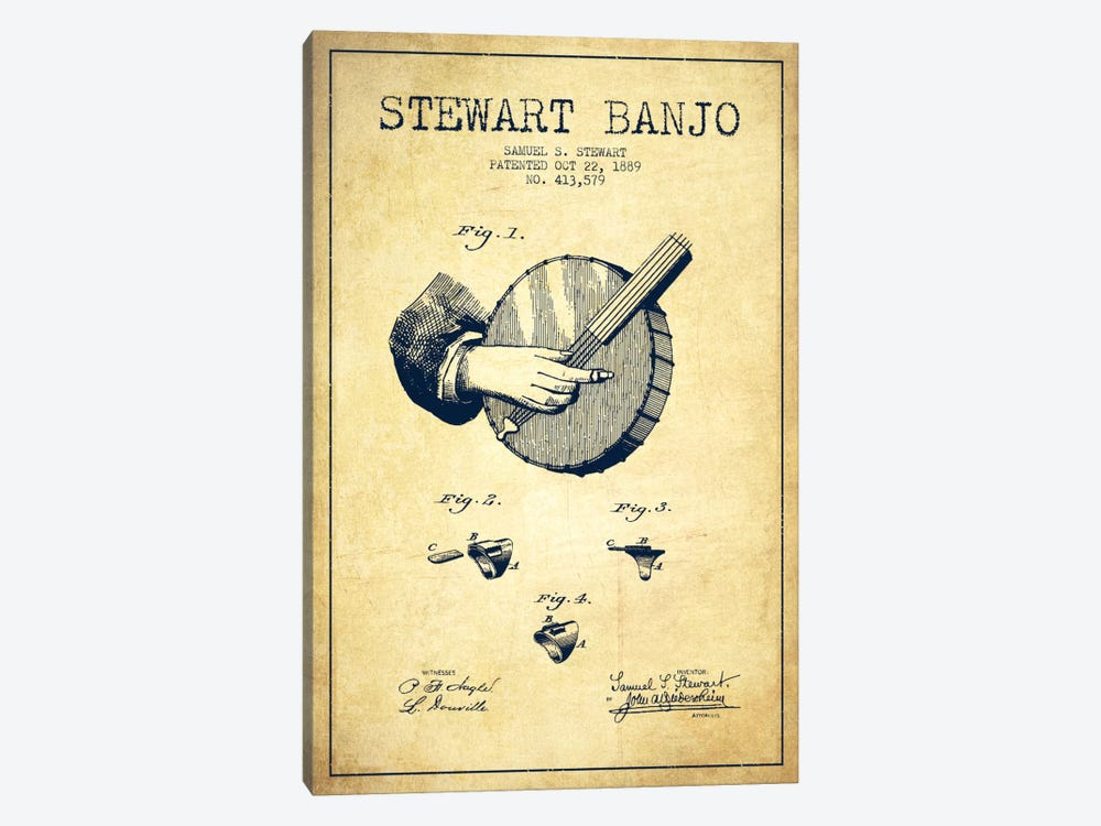 Stewart Banjo Vintage Patent Blueprint by Aged Pixel 1-piece Canvas Wall Art