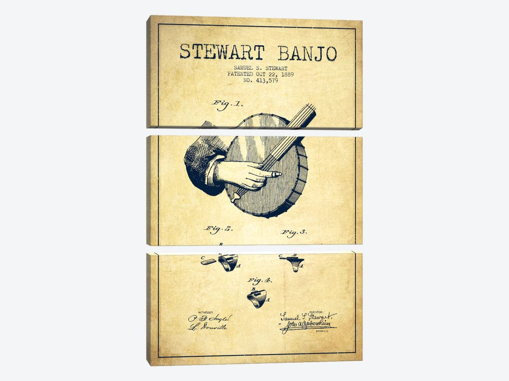 Stewart Banjo Vintage Patent Blueprint by Aged Pixel 3-piece Canvas Wall Art