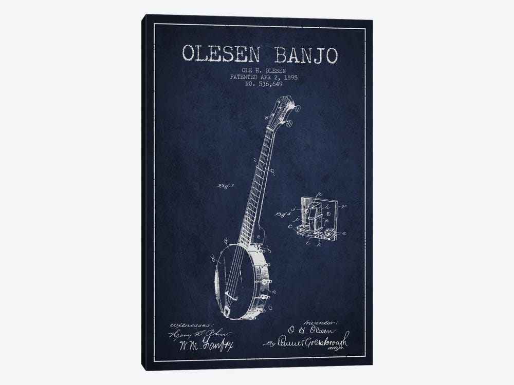 Olesen Banjo Navy Blue Patent Blueprint by Aged Pixel 1-piece Canvas Print
