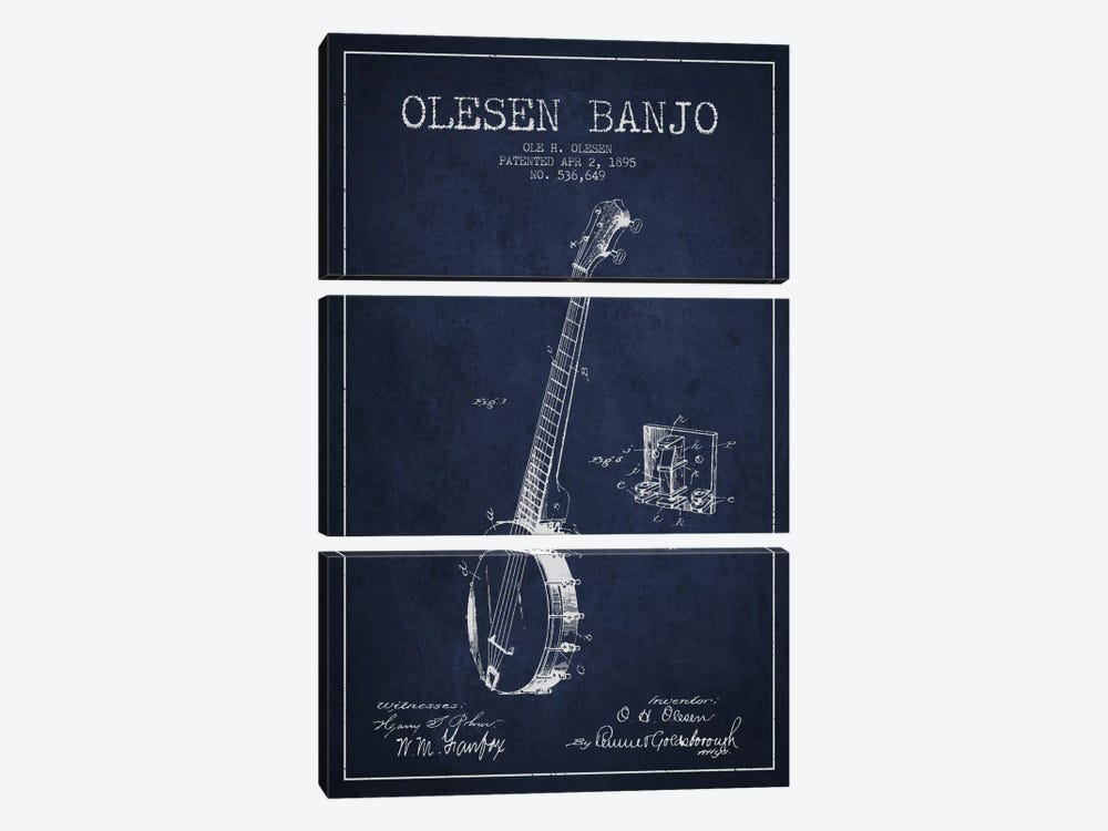 Olesen Banjo Navy Blue Patent Blueprint by Aged Pixel 3-piece Canvas Print
