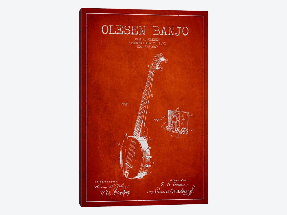 Olesen Banjo Red Patent Blueprint by Aged Pixel 1-piece Canvas Art
