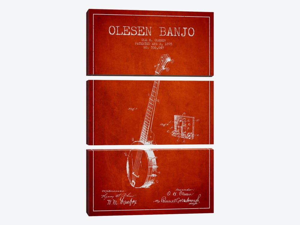Olesen Banjo Red Patent Blueprint by Aged Pixel 3-piece Canvas Art