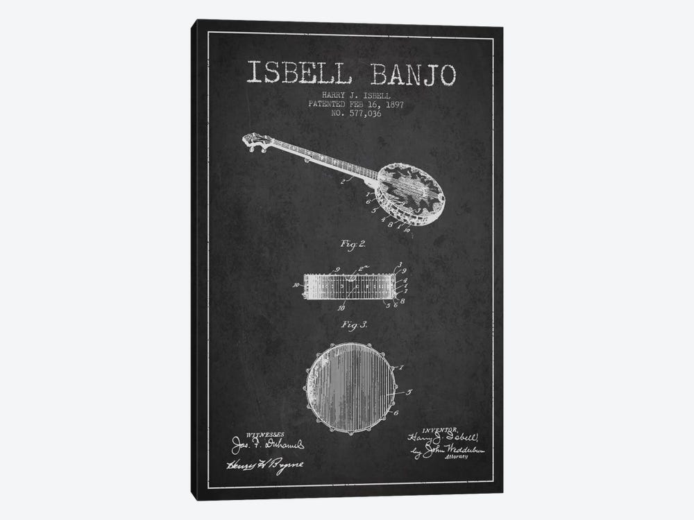 Isebell Banjo Charcoal Patent Blueprint by Aged Pixel 1-piece Canvas Art
