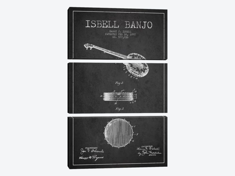 Isebell Banjo Charcoal Patent Blueprint by Aged Pixel 3-piece Canvas Art