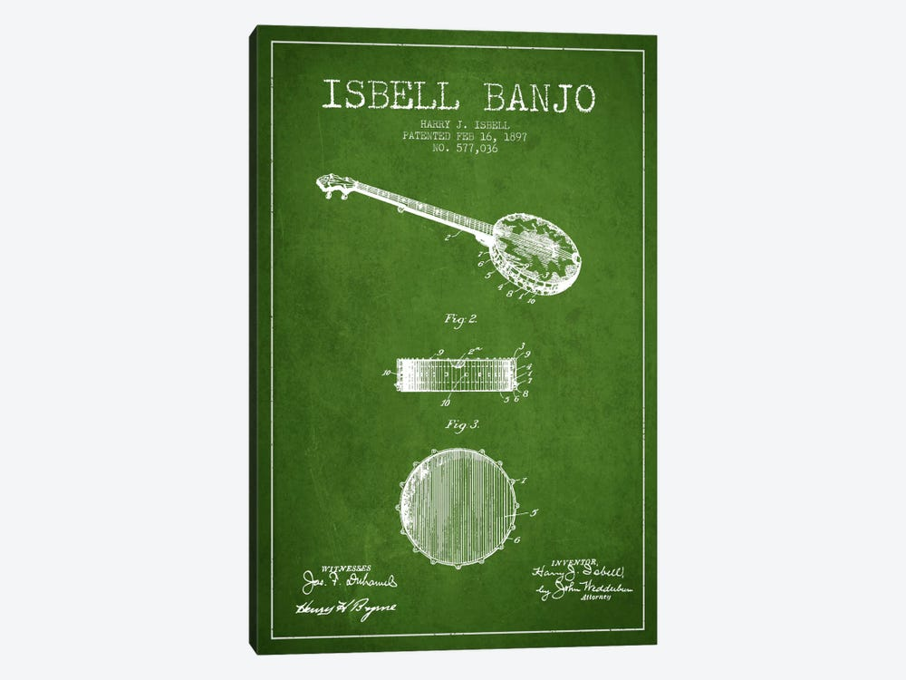 Isebell Banjo Green Patent Blueprint by Aged Pixel 1-piece Canvas Wall Art