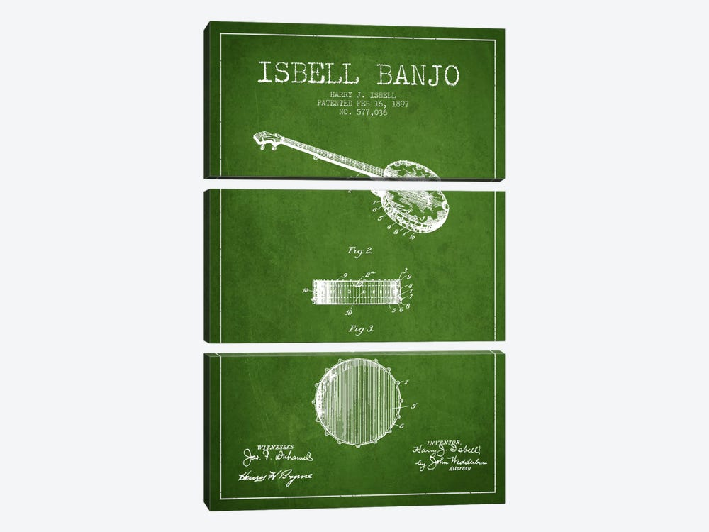 Isebell Banjo Green Patent Blueprint by Aged Pixel 3-piece Canvas Wall Art