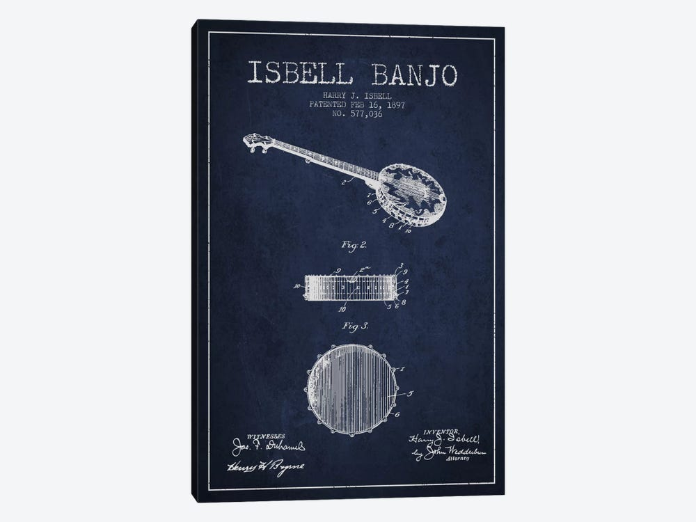 Isebell Banjo Navy Blue Patent Blueprint by Aged Pixel 1-piece Canvas Print
