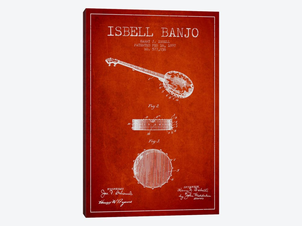 Isebell Banjo Red Patent Blueprint by Aged Pixel 1-piece Canvas Artwork