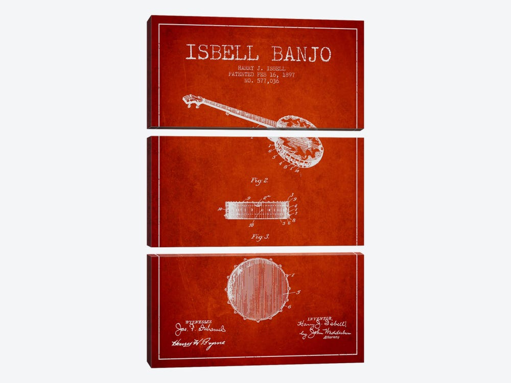 Isebell Banjo Red Patent Blueprint by Aged Pixel 3-piece Canvas Art