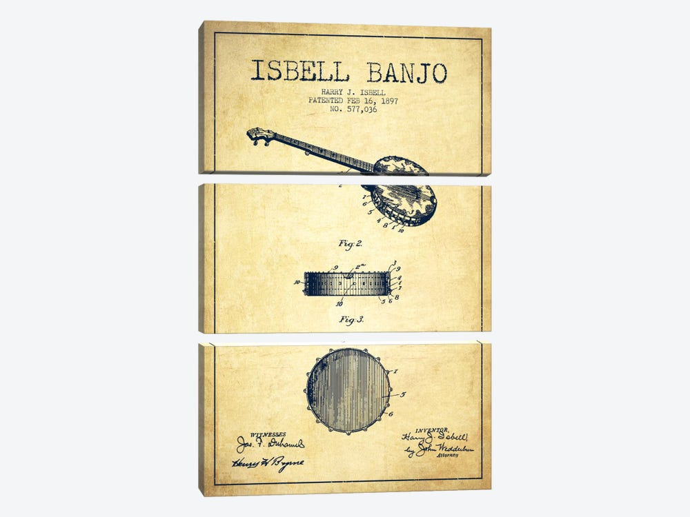 Isebell Banjo Vintage Patent Blueprint 3-piece Canvas Art Print