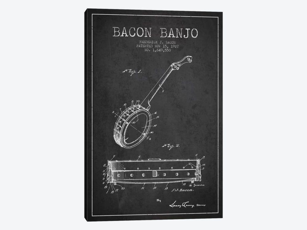 Bacon Banjo Charcoal Patent Blueprint by Aged Pixel 1-piece Canvas Wall Art