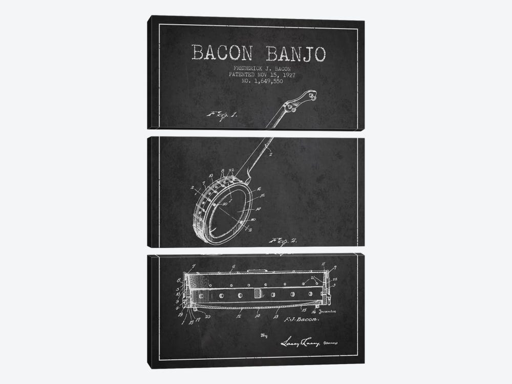 Bacon Banjo Charcoal Patent Blueprint by Aged Pixel 3-piece Canvas Artwork