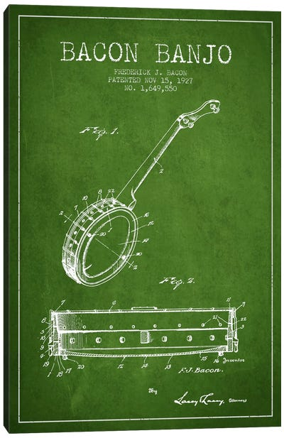 Bacon Banjo Green Patent Blueprint Canvas Print #ADP1045