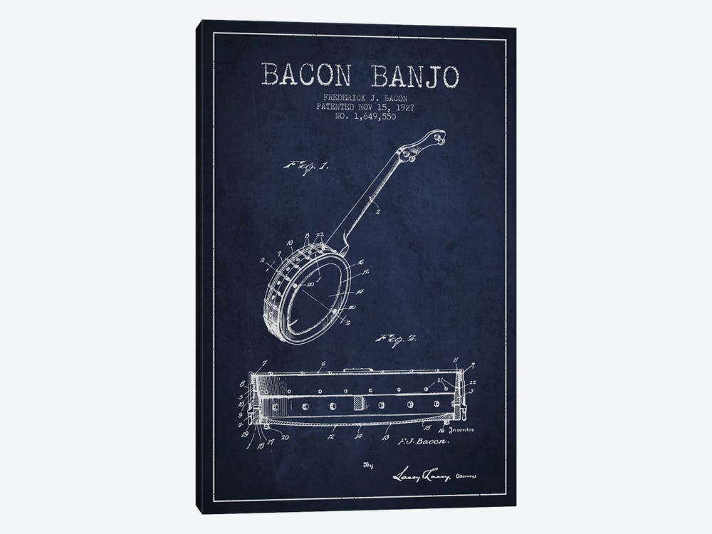Bacon Banjo Navy Blue Patent Blueprint by Aged Pixel 1-piece Canvas Art