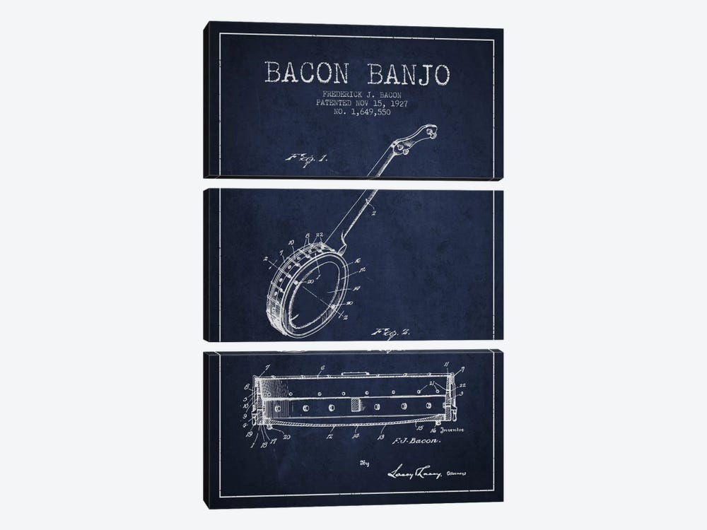Bacon Banjo Navy Blue Patent Blueprint by Aged Pixel 3-piece Canvas Wall Art