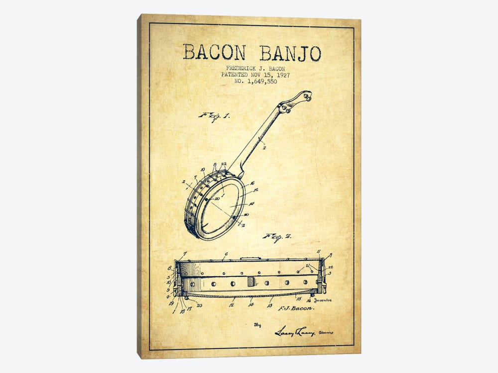 Bacon Banjo Vintage Patent Blueprint by Aged Pixel 1-piece Canvas Artwork