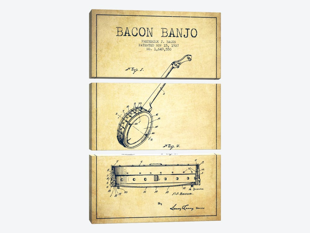 Bacon Banjo Vintage Patent Blueprint by Aged Pixel 3-piece Canvas Art