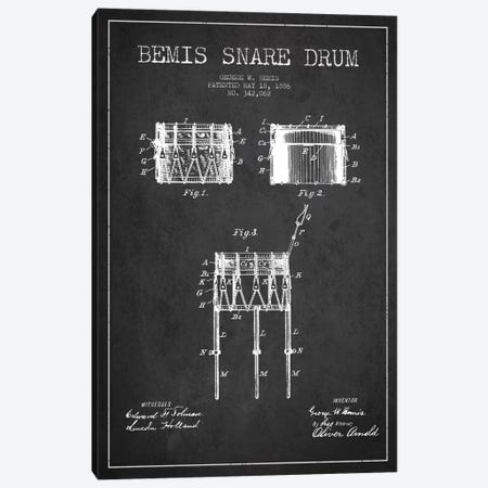 Bemis Drum Charcoal Patent Blueprint Canvas Print #ADP1049} by Aged Pixel Canvas Wall Art