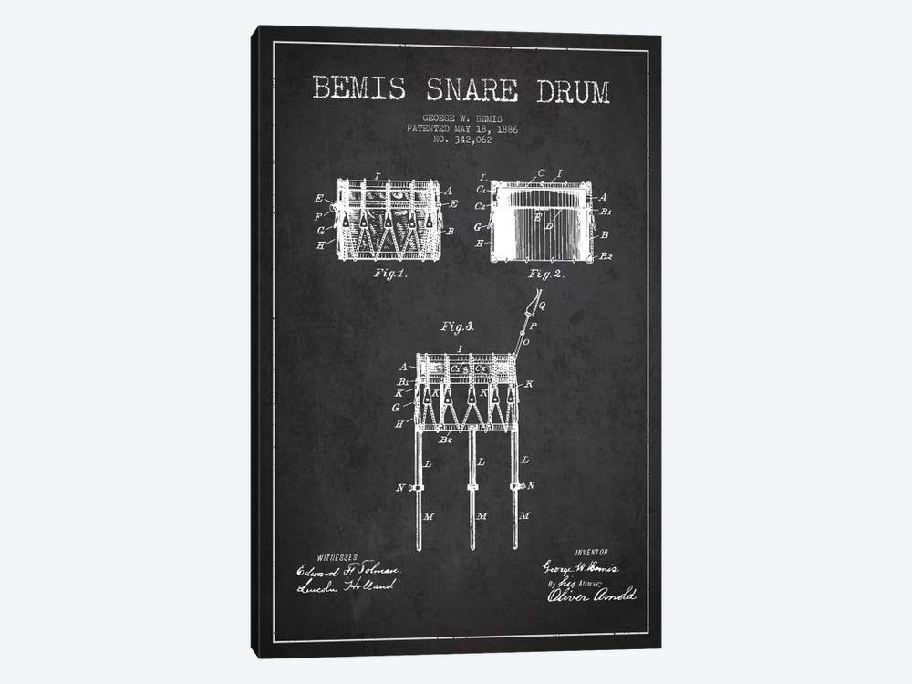 Bemis Drum Charcoal Patent Blueprint by Aged Pixel 1-piece Canvas Print