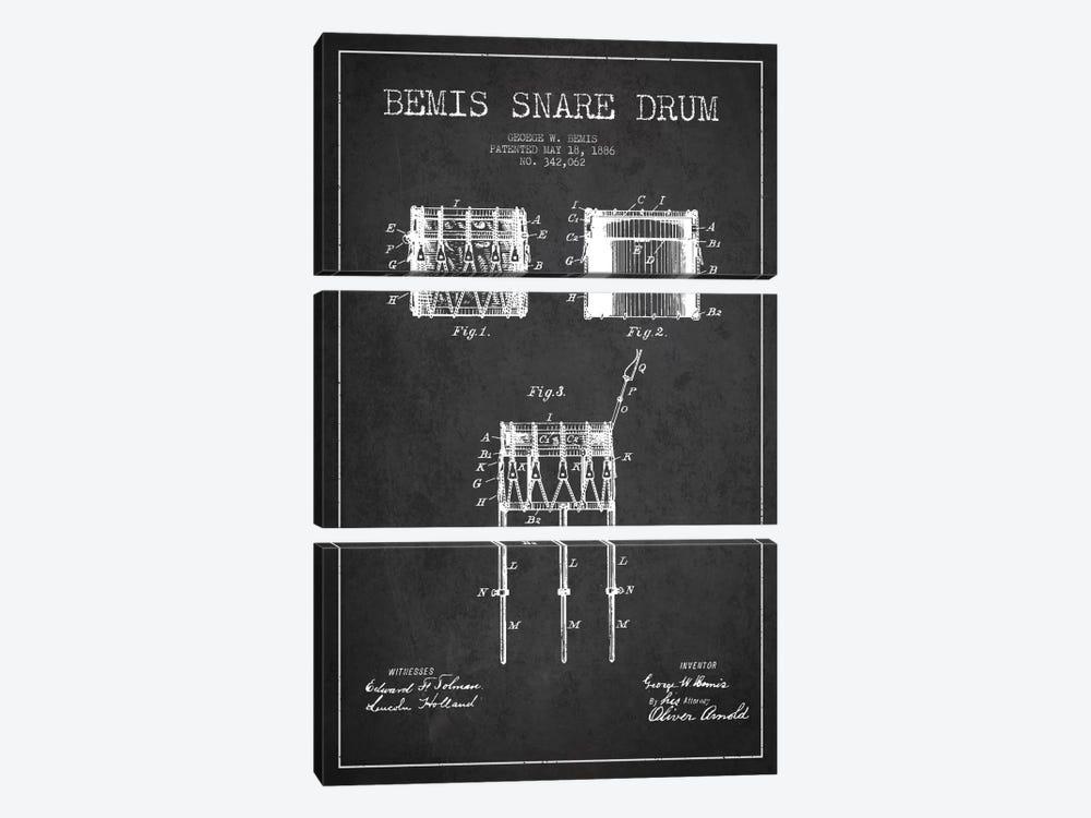 Bemis Drum Charcoal Patent Blueprint by Aged Pixel 3-piece Canvas Print