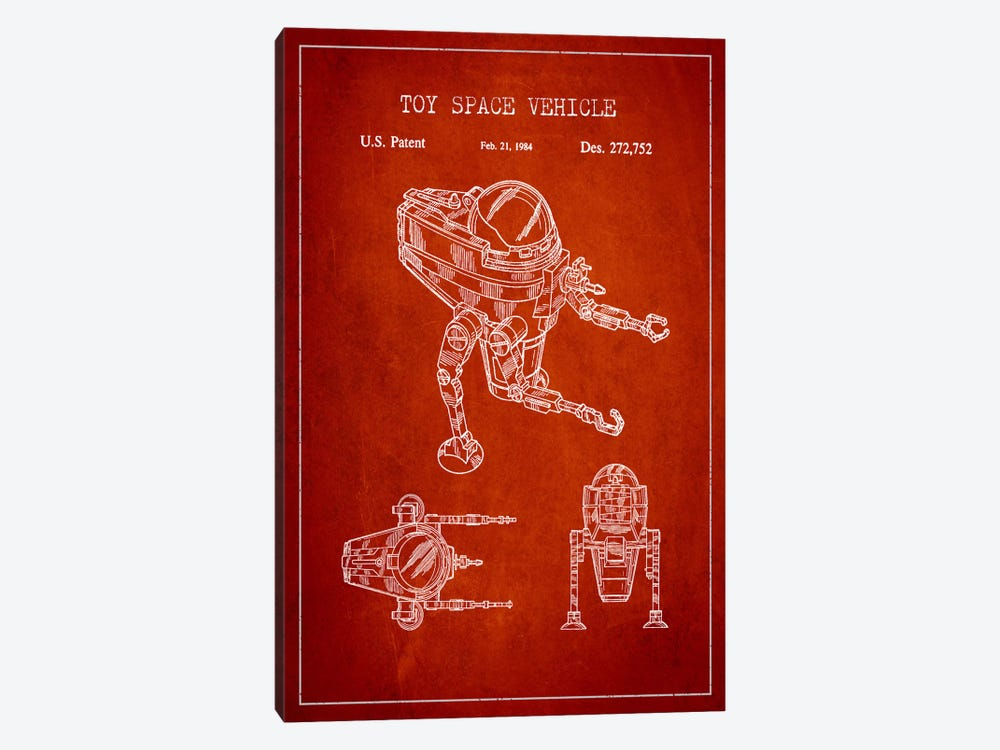 Toy Robot Red Patent Blueprint by Aged Pixel 1-piece Canvas Wall Art