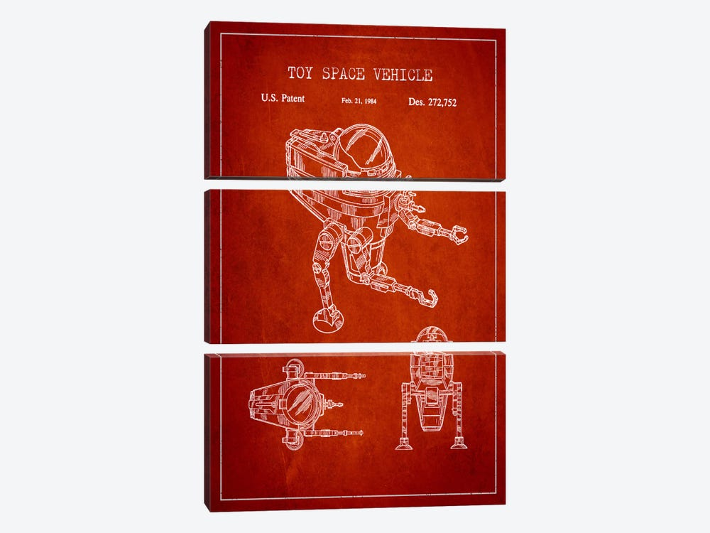 Toy Robot Red Patent Blueprint by Aged Pixel 3-piece Canvas Wall Art