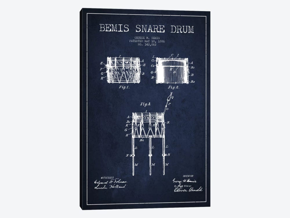 Bemis Drum Navy Blue Patent Blueprint by Aged Pixel 1-piece Canvas Artwork