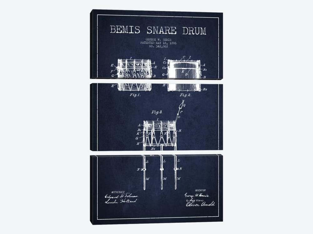 Bemis Drum Navy Blue Patent Blueprint by Aged Pixel 3-piece Canvas Artwork