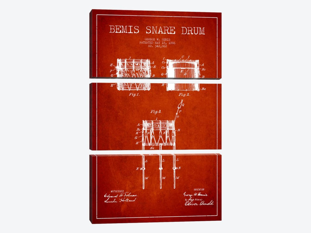 Bemis Drum Red Patent Blueprint by Aged Pixel 3-piece Canvas Print